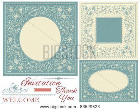 Vintage invitation frames