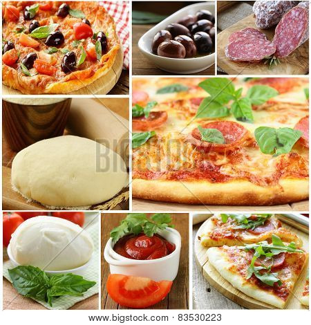collage ingredients for pizza (mozzarella, salami, olives, dough, tomato sauce)