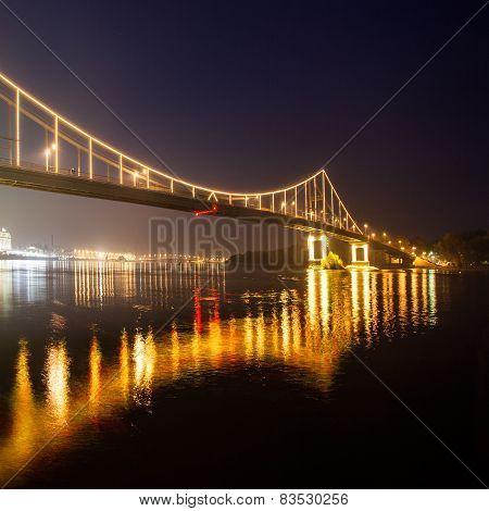 Footbridge in autumn Kiev