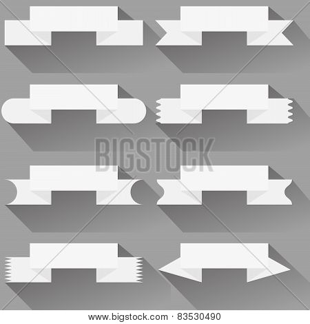 Modern  ribbons and banners for your text. Isolated on white bac