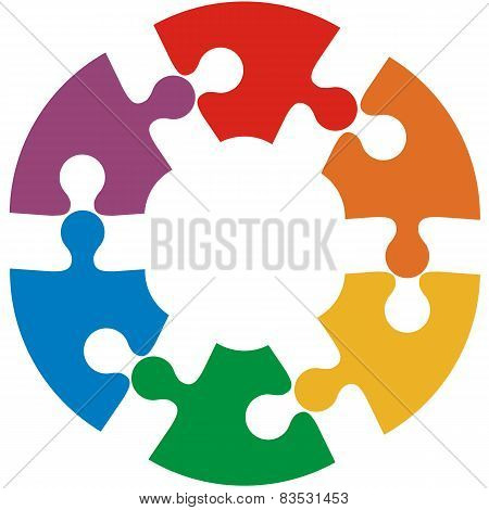 Six color puzzle circle. Vector illustration.