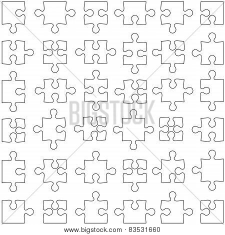 Set of white jigsaw puzzles. Vector illustration.