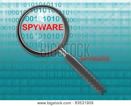 Close Up Of Magnifying Glass On Spyware