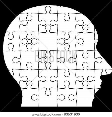 Jigsaw puzzle of human head, black background. Vector illustrati