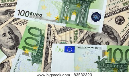 Dollar And Euro Banknote