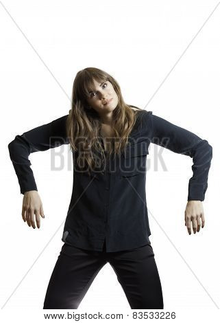 Tall Pretty Female Model Acting Like Broken Doll Isolated Background