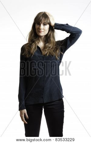 Pretty Female Model Thinking  Hand on Head Isolated White Background
