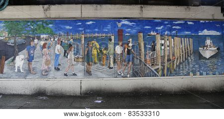 Mural art in Sheepshead Bay section of Brooklyn