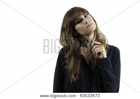Pretty Female Model Playing with Hair Playfully Isolated White Background