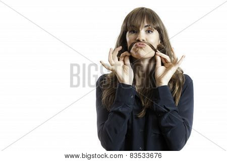 Pretty Female Model Making Fake Mustache With Long Hair