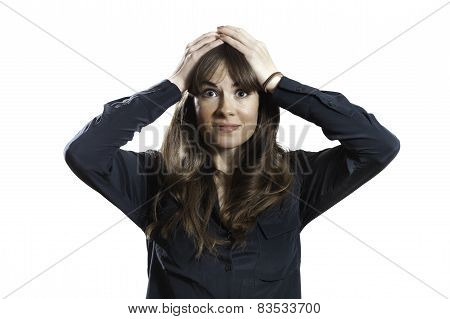 Frustrated Female Model Hands On Head Isolated White Background
