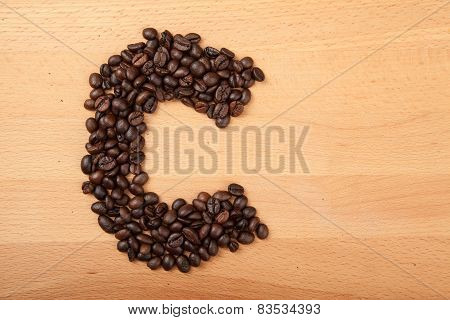 Roasted Coffee Beans In Letter C Shape