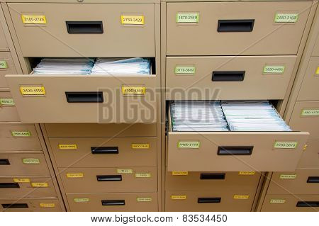 Archive Cabinet With Open Drawer