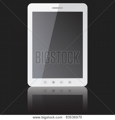white tablet PC computer with blank screen