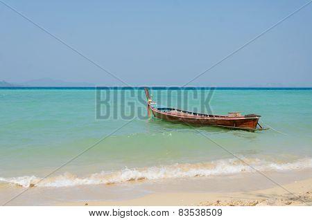 Tropical Beach Traditional Long Tail Boats, Andaman Sea.
