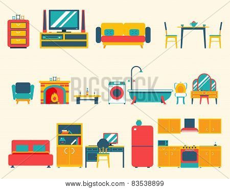Furniture House Interior Icons and Symbols Set Living Room Kitchen Bedroom Lounge Bathroom Cabinet O