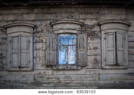 Three Old Wooden Windows. Open Window In Rural House