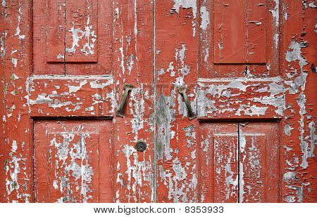 Peeling Wooden Door Close-up