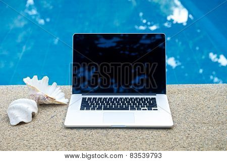 Vacation Work With Laptop At Pool