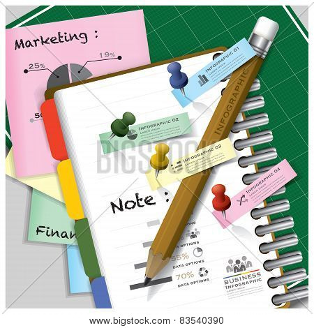 Business Infographic On Ring Organizer Notebook With Pencil And Post It Paper