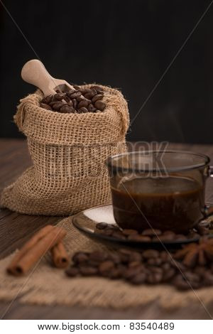 Coffee Cup With Burlap Sack
