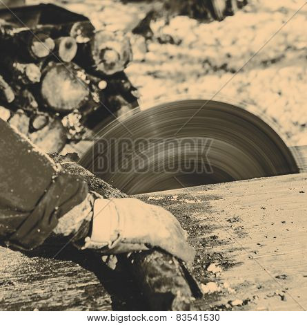 Man Working With Circular Saw Blade