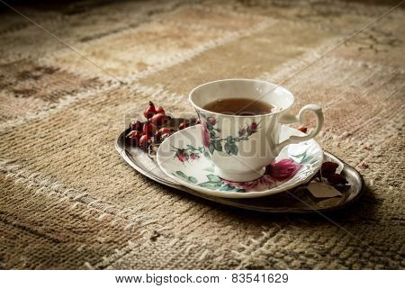 Tea Cup On Tray, Vintage Style
