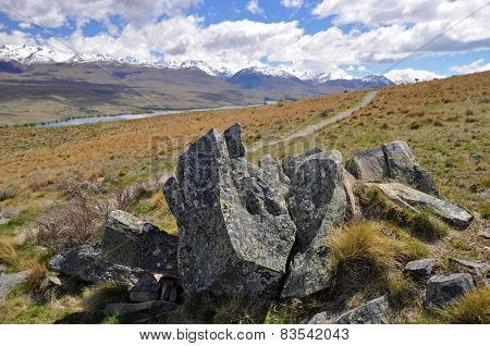 Path To Lake Tepako And Lake Alexandrina New Zealand