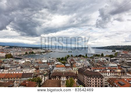 Panoramic View Of City Of Geneva, The Leman Lake And The Water Jet, In Switzerland, Europe, Aerial V