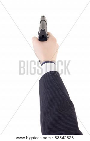 Male Hand In Suit Holding Gun Isolated On White