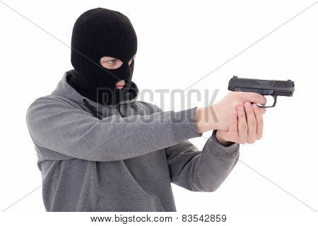 Man In Black Mask Shooting With Gun Isolated On White