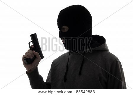 Silhouette Of Criminal Man In Mask Holding Gun Isolated On White