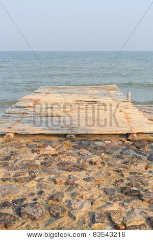 Wooden Pier To The Sea And Sky