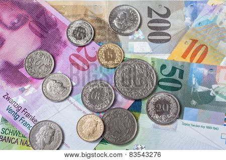 Swiss Currency Banknotes And Coins