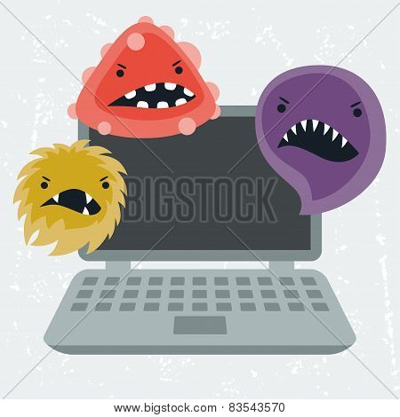 Abstract illustration laptop infected with viruses.
