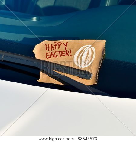 Happy Easter - Message under a windshield wiper