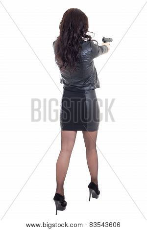 Back View Of Woman Shooting With Gun Isolated On White