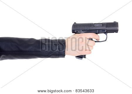 Gun In Female Hand Isolated On White