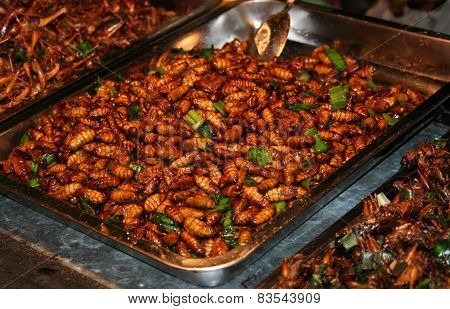 National Asian Cuisine Insects After Grilling