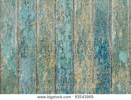 Wooden Planks Texture With Cracked Color Paint For Background
