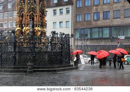 Nurnberg, Germany - July 13 2014: Rainy Day. Hauptmarkt, The Central Square Of Nuremberg, Bavaria, G