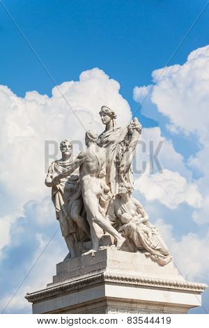 The Statue In Front Of Monumento Nazionale A Vittorio Emanuele Ii