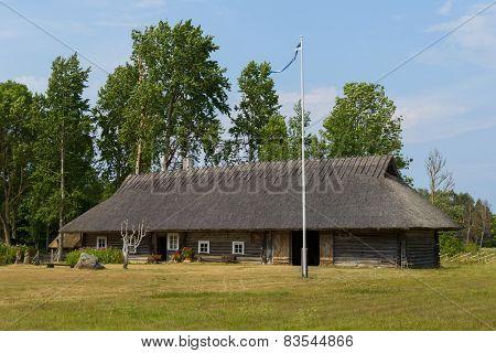 Traditional Estonian Farmhouse in Soera Farm. Estonian National Monument. Hiimaa Island, Estonia.