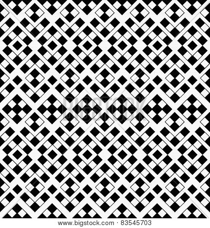Abstract Geometric Seamless Pattern from Black and White Squares Arranged in Isolated Ornaments on L