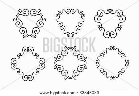 Set of Elegant Vector Black Twirl Calligraphic Line Frames on White Background