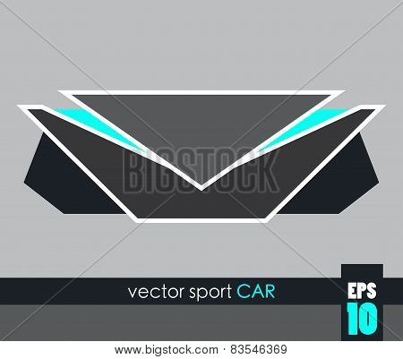 Front View Of A Sport Car, Geometric Vector