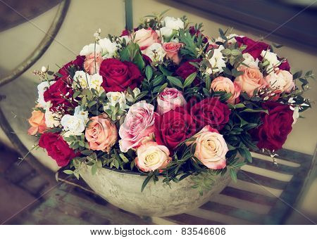 Bouquet Of Roses In Pot