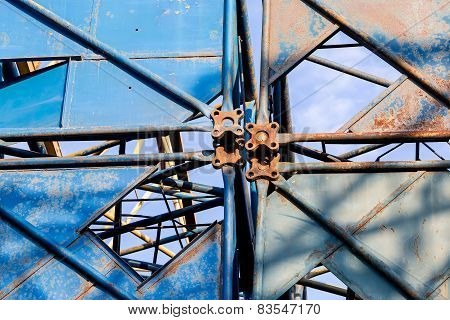 Disassembled Building Cranes Closeup