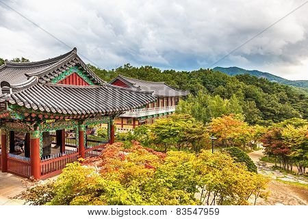 Buddhist Monks Temple In Mountains In Korea