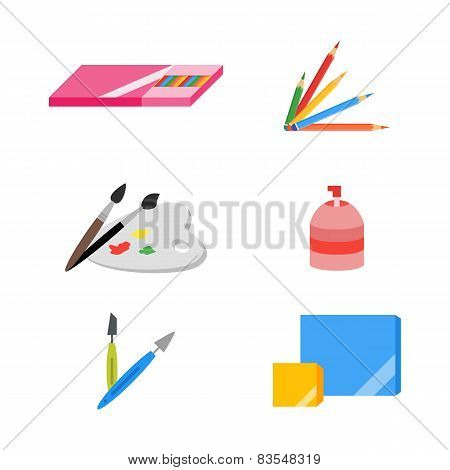 Painting icons, vector illustration, eps 10, flat
